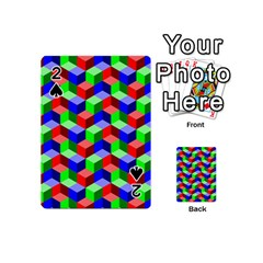 Seamless Rgb Isometric Cubes Pattern Playing Cards 54 (mini)  by Nexatart