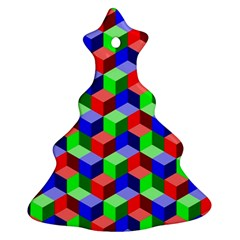Seamless Rgb Isometric Cubes Pattern Christmas Tree Ornament (two Sides) by Nexatart