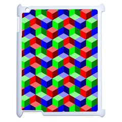 Seamless Rgb Isometric Cubes Pattern Apple Ipad 2 Case (white) by Nexatart