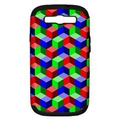Seamless Rgb Isometric Cubes Pattern Samsung Galaxy S Iii Hardshell Case (pc+silicone) by Nexatart