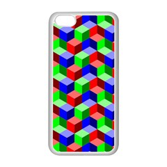 Seamless Rgb Isometric Cubes Pattern Apple Iphone 5c Seamless Case (white) by Nexatart
