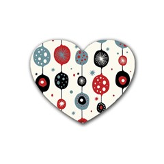 Retro Ornament Pattern Rubber Coaster (heart)  by Nexatart