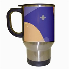 Planet Galaxy Space Star Polka Meteor Moon Blue Sky Circle Travel Mugs (white) by Mariart