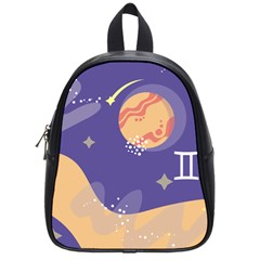 Planet Galaxy Space Star Polka Meteor Moon Blue Sky Circle School Bags (small)  by Mariart