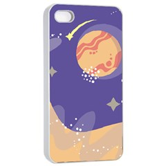 Planet Galaxy Space Star Polka Meteor Moon Blue Sky Circle Apple Iphone 4/4s Seamless Case (white) by Mariart