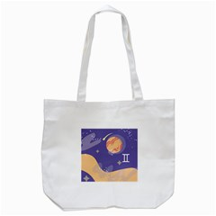 Planet Galaxy Space Star Polka Meteor Moon Blue Sky Circle Tote Bag (white) by Mariart