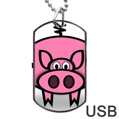 Pork Pig Pink Animals Dog Tag Usb Flash (two Sides) by Mariart