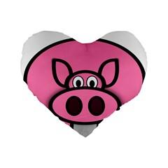 Pork Pig Pink Animals Standard 16  Premium Heart Shape Cushions by Mariart