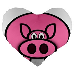 Pork Pig Pink Animals Large 19  Premium Heart Shape Cushions by Mariart