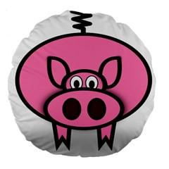 Pork Pig Pink Animals Large 18  Premium Flano Round Cushions by Mariart