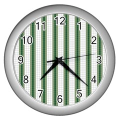 Plaid Line Green Line Vertical Wall Clocks (silver)  by Mariart