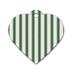 Plaid Line Green Line Vertical Dog Tag Heart (one Side) by Mariart