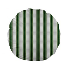 Plaid Line Green Line Vertical Standard 15  Premium Round Cushions by Mariart