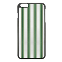 Plaid Line Green Line Vertical Apple Iphone 6 Plus/6s Plus Black Enamel Case by Mariart