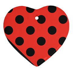 Red Black Hole White Line Wave Chevron Polka Circle Ornament (heart) by Mariart