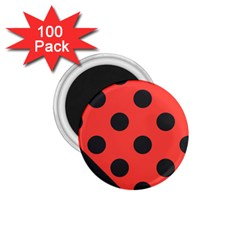 Red Black Hole White Line Wave Chevron Polka Circle 1 75  Magnets (100 Pack)  by Mariart