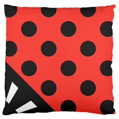 Red Black Hole White Line Wave Chevron Polka Circle Large Cushion Case (one Side) by Mariart