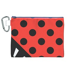 Red Black Hole White Line Wave Chevron Polka Circle Canvas Cosmetic Bag (xl) by Mariart