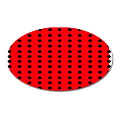 Red White Black Hole Polka Circle Oval Magnet by Mariart