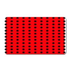 Red White Black Hole Polka Circle Magnet (rectangular) by Mariart
