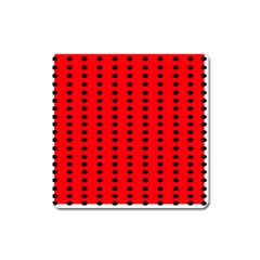 Red White Black Hole Polka Circle Square Magnet by Mariart