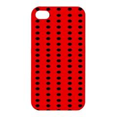 Red White Black Hole Polka Circle Apple Iphone 4/4s Premium Hardshell Case by Mariart