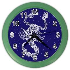 Scorpio Zodiac Star Color Wall Clocks by Mariart