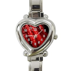 Red Space Line Light Black Polka Heart Italian Charm Watch by Mariart