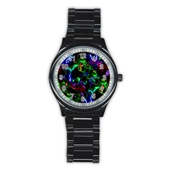 Saga Colors Rainbow Stone Blue Green Red Purple Space Stainless Steel Round Watch by Mariart