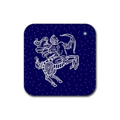 Sagitarius Zodiac Star Rubber Square Coaster (4 Pack)  by Mariart