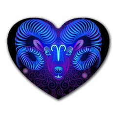 Sign Aries Zodiac Heart Mousepads by Mariart