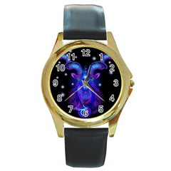 Sign Capricorn Zodiac Round Gold Metal Watch by Mariart