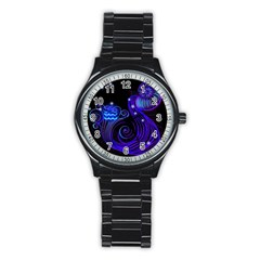 Sign Aquarius Zodiac Stainless Steel Round Watch by Mariart