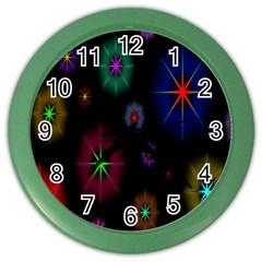 Star Space Galaxy Rainboiw Circle Wave Chevron Color Wall Clocks by Mariart
