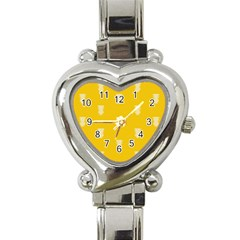 Waveform Disco Wahlin Retina White Yellow Vertical Heart Italian Charm Watch by Mariart
