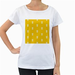 Waveform Disco Wahlin Retina White Yellow Vertical Women s Loose Fit T Shirt (white) by Mariart