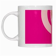 Women Safety Feminist Nail Strong Pink Circle Polka White Mugs by Mariart
