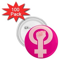 Women Safety Feminist Nail Strong Pink Circle Polka 1 75  Buttons (100 Pack)  by Mariart