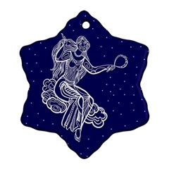 Virgo Zodiac Star Snowflake Ornament (two Sides) by Mariart