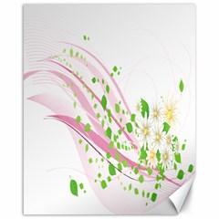 Sunflower Flower Floral Leaf Line Wave Chevron Pink Canvas 16  X 20   by Mariart