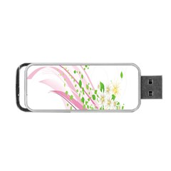 Sunflower Flower Floral Leaf Line Wave Chevron Pink Portable Usb Flash (one Side) by Mariart