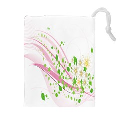 Sunflower Flower Floral Leaf Line Wave Chevron Pink Drawstring Pouches (extra Large) by Mariart