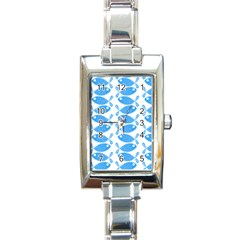 Fish Pattern Background Rectangle Italian Charm Watch by Nexatart