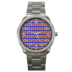 Seamless Prismatic Pythagorean Pattern Sport Metal Watch by Nexatart