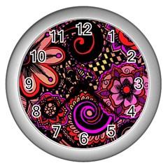 Sunset Floral Wall Clocks (silver)  by Nexatart