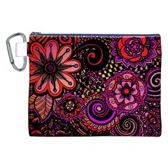Sunset Floral Canvas Cosmetic Bag (xxl) by Nexatart