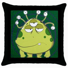 The Most Ugly Alien Ever Throw Pillow Case (black) by Catifornia