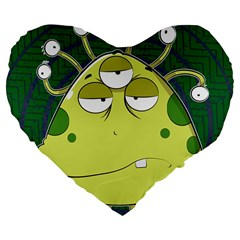 The Most Ugly Alien Ever Large 19  Premium Flano Heart Shape Cushions by Catifornia