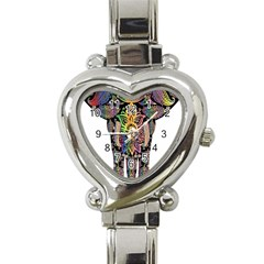 Prismatic Floral Pattern Elephant Heart Italian Charm Watch by Nexatart