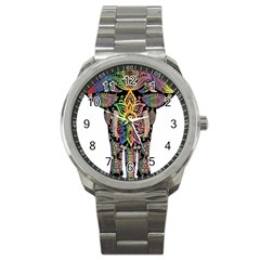 Prismatic Floral Pattern Elephant Sport Metal Watch by Nexatart